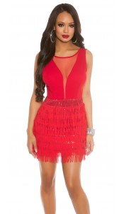 Sexy Koucla-Mini-Partydress with fringes Red