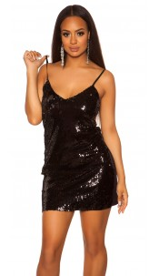Sexy Mini-Partydress with sequins Black