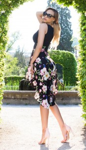 Sexy KouCla HighLow Dress Floral Print Black
