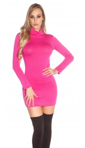 Sexy Minidress, backless with turtle neck Fuchsia