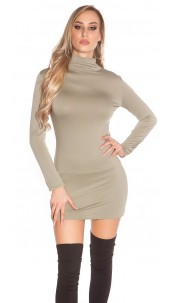 Sexy Minidress, backless with turtle neck Khaki