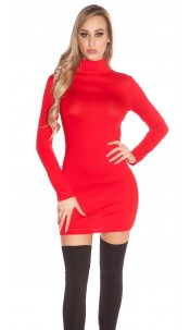 Sexy Minidress, backless with turtle neck Red