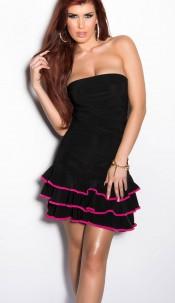Sexy Bandeau-minidress with frills Blackfuchsia