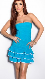 Sexy Bandeau-minidress with frills Turquoise