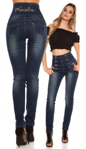 Sexy KouCla highwaist Jeans mit lightwash Jeansblue
