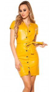 Sexy leatherlook dress with belt & buttoned, lined Mustard
