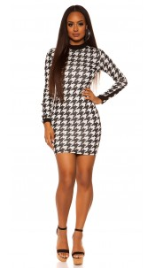 Sexy mini dress in houndstooth pattern Blackwhite