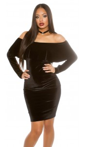 Long sleeve velvetlook mini dress Carmenneck Black