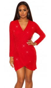 Sexy Glitzer Langarm-Partydress wrap look Red