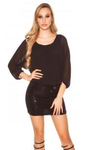 Sexy Longsleeve Glitter Dress Black