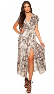Sexy wrap look dress with belt snake print Beige