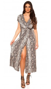 Sexy wrap look dress with belt snake print Brown
