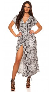 Sexy wrap look dress with belt snake print Grey