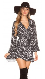 Sexy dress in wrap look with flounce & pattern Black