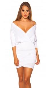 Sexy dress wrap look with low neckline White
