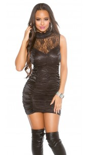 Sexy mini-dress, turnable with zipper Black