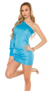 Sexy One sleeve Shirt/mini dress with lace batlook Turquoise