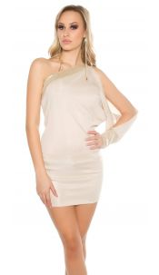 Sexy One-Arm-Dress with sequin Beige