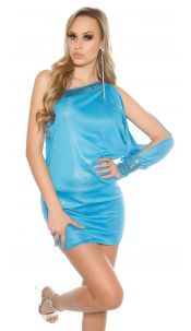 Sexy One-Arm-Dress with sequin Turquoise