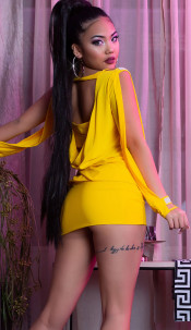 Sexy Partydress with open sleeves, backfree Yellow
