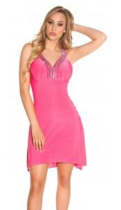 Sexy Gala-Dress with rhinestones Fuchsia