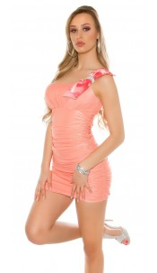 Sexy mini dress, ruffled with loops carrier Coral
