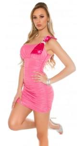 Sexy mini dress, ruffled with loops carrier Fuchsia