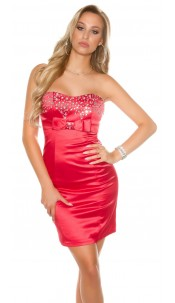 Sexy Bandeau Cocktail-Dress with rhinestones Red