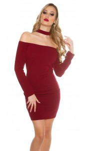 Sexy Neck minidress Bordeaux