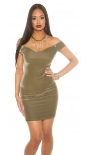 Offshoulder Velvet Mini Dress Khaki
