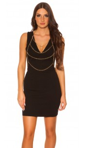 Sexy sheeth dress withi body chain Black