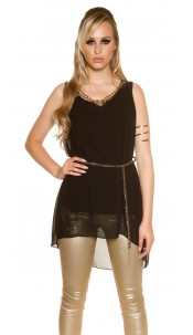 Sexy Chiffon Longtop with chain and belt Black