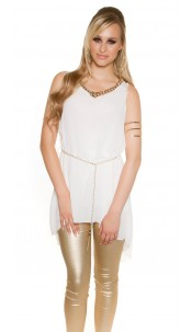 Sexy Chiffon Longtop with chain and belt White