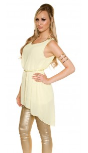 Sexy Chiffon Longtop with chain and belt Yellow