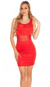 Sexy minidress with transparent cut outs Red
