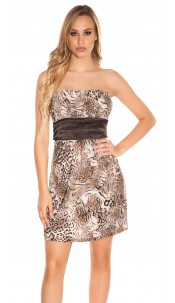 Sexy Bandeau Minidress in Leo-Look Brown