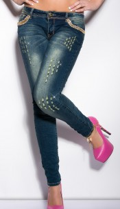 Sexy KouCla skinnies with studs and rhinestones Jeansblue