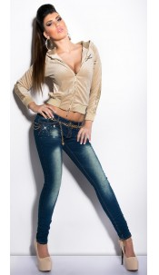 Sexy KouCla Jeans with studs and chains Jeansblue