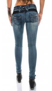 Sexy KouCla skinny jeans with lace and rhinestones Jeansblue