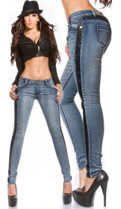 Sexy KouCla skinny jeans with crochet st the side Jeansblue