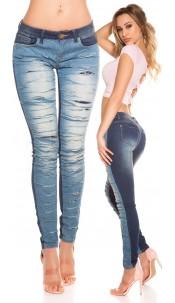 Sexy Koucla skinny jeans with trendy cracks Jeansblue