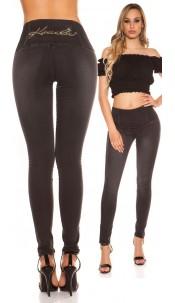 Sexy KouCla high waist jeans with rhinestones Jeansblack