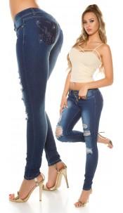 Sexy Koucla skinny jeans used with rhinestones Jeansblue