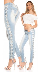 Sexy Koucla skinny with lace and loops Jeansblue