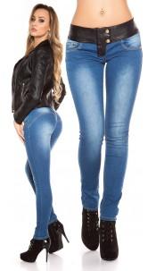 Sexy KouCla DarkWash Skinny-Jeans with Letherlook Jeansblue