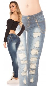 Sexy Koucla jeans with golden Lace and chain Jeansblue