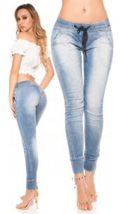 Trendy Koucla skinny jeans with strap Jeansblue