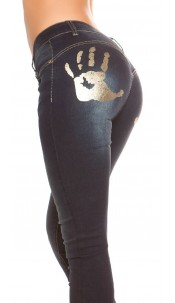Sexy KouCla PushUp Skinny-Jeans with hands-Print Jeansblue