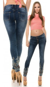 Sexy KouCla Push-UP skinnies with embroidery Jeansblue