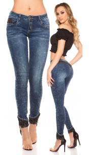 Sexy KouCla Skinny Jeans Acid washed with lace Jeansblue